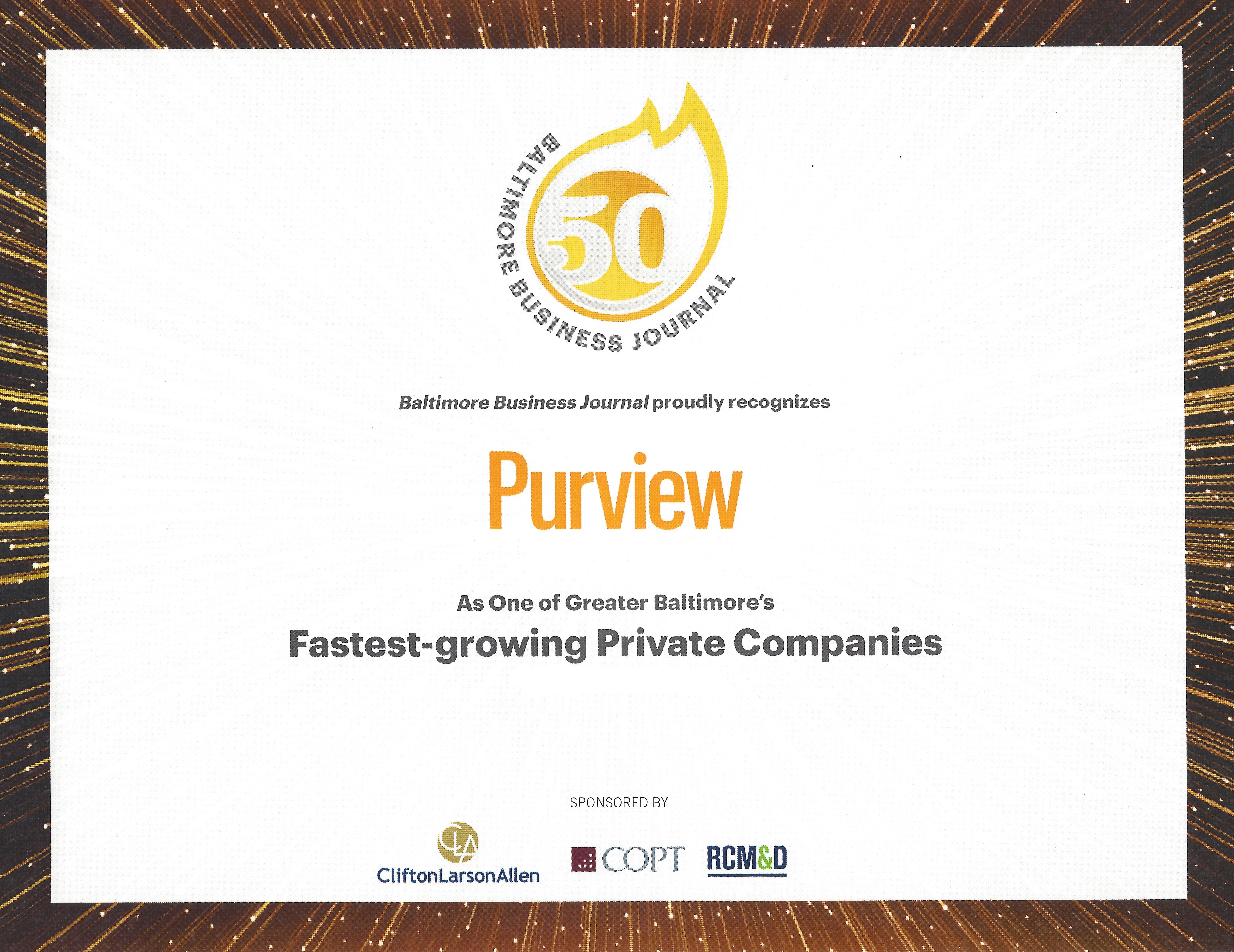 No Date - Purview Baltimore Business Journal award copy